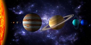 Sol och de åtta planeterna av solsystemet med djupt utrymme och dramatisk nebulosabakgrund Realistisk illustration 3d av royaltyfri illustrationer