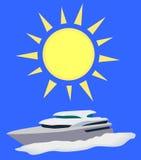 Sol och fartyg royaltyfri illustrationer