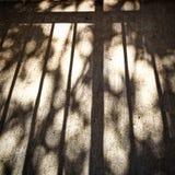 Sol och långa skuggor av räcket och trädlemmar arkivfoto