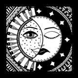 Sol och månad svart white vektor Royaltyfri Bild
