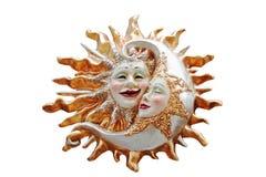 Sol och måne, dygnet runt Arkivbild