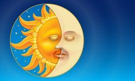 Sol och måne (dygnet runt) i låg-lättnad stil. royaltyfri illustrationer