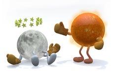 Sol och måne med armar, ben och boxninghandskar vektor illustrationer
