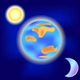 Sol och måne runt om jorden Arkivfoton