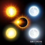 Sol- och månevektoruppsättning stock illustrationer
