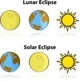 Sol- och månförmörkelse royaltyfri illustrationer