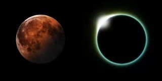 Sol- och månförmörkelser Arkivbild