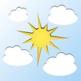 Sol och moln Fotografering för Bildbyråer