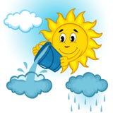Sol och moln med regn royaltyfri illustrationer