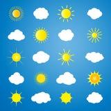 Sol- och molnmodell stock illustrationer