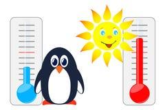 Sol och pingvin med termometrar Fotografering för Bildbyråer