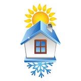 Sol och snöflingor för hem- betinga för luft Arkivfoto