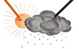 Sol och svart moln vektor illustrationer