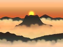 Sol på himmel och mist i bergen royaltyfri illustrationer