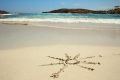 Sol på sanden vid havet Royaltyfri Fotografi