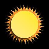 Sol på svart bakgrund, solsymbol Arkivbilder