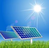 Sol- panel i greenen Royaltyfria Bilder