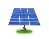 Sol- panel med grönt gräs Royaltyfri Foto