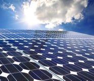 Sol- panel på en solig dag Royaltyfria Foton