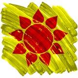 Sol pintado artístico abstracto en fondo amarillo Imagen de archivo libre de regalías