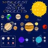 Sol, planetas e luas do sistema solar Fotos de Stock