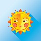 Sol popular bonito em um fundo azul ilustração do vetor