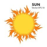 Sol quente do verão com as línguas da chama Elemento do projeto do vetor no fundo branco isolado ilustração stock