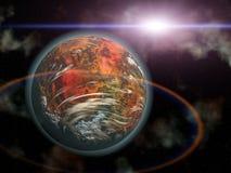 Sol rojo del planeta y del extranjero en espacio Imagen de archivo libre de regalías