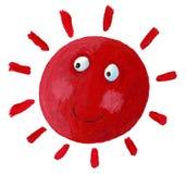 Sol rojo sonriente Foto de archivo
