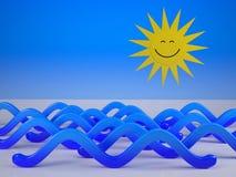Sol som ler ner på blåa vågor Arkivbild