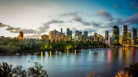 Sol som ställer in över Brisbane RiverAustralia Royaltyfri Bild