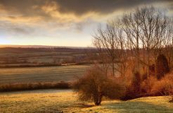 Sol som stiger över Gloucestershire Arkivfoto