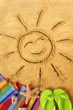 Sol sonriente de la playa del verano Foto de archivo libre de regalías