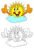 Sol sonriente detrás de una nube ilustración del vector