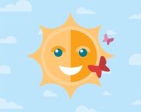 Sol sonriente y dos mariposas en el cielo con ilustración del vector