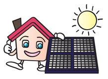 sol- tecknad filmenergihus stock illustrationer