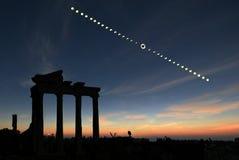 sol- total för förmörkelse Arkivfoton