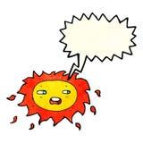 sol triste dos desenhos animados com bolha do discurso Foto de Stock