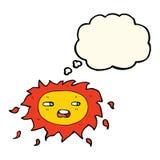 sol triste dos desenhos animados com bolha do pensamento Fotos de Stock Royalty Free