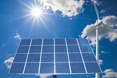 sol- turbinwind för panel Royaltyfri Illustrationer