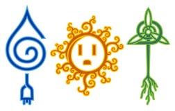 sol- vattenwind för energi Arkivfoton