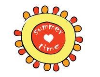 Sol vermelho e amarelo dos desenhos animados Imagem de Stock