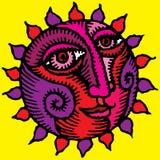 Sol violeta en fondo amarillo Imagenes de archivo