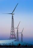 sol- windmills för moderna paneler Royaltyfria Foton