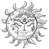 Sol y luna el dormir del tatuaje stock de ilustración
