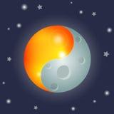Sol y luna, equinoccio de Yin y de yang stock de ilustración