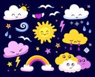 Sol y nubes emocionales, estrellas, arco iris en fondo oscuro ilustración del vector