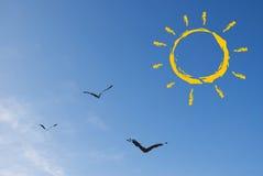 Sol y pájaros abstractos Imagen de archivo libre de regalías