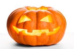 Sola calabaza de Halloween Jack asustadizo O& x27; Cara de la linterna Imagen de archivo