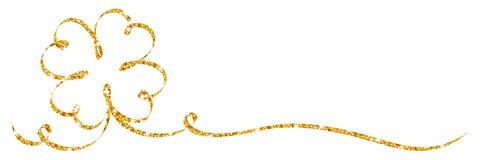 Sola caligrafía de oro del brillo de la cinta de la hoja del trébol stock de ilustración